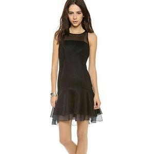 DKNY Black Flounce, Mesh & Organza Dress Sz 4